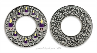 Advent Geonutshells 2012 Geocoin - LE antique silver / fialová